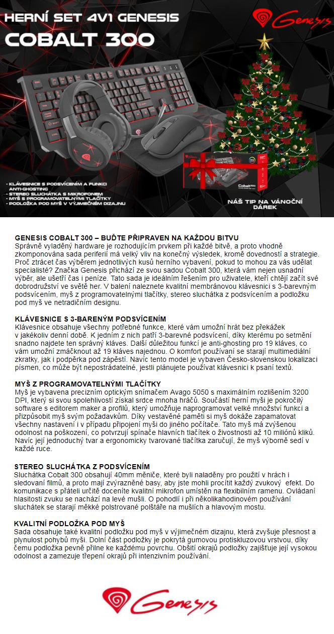 Herní set 4v1 Genesis Cobalt 300 CZ/SK layout, podsvícení